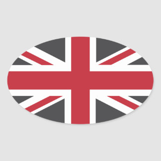 Cool Grey Red Union Jack British(UK) Flag Oval Sticker