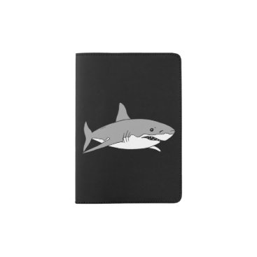 Beach Themed cool grey shark passport holder