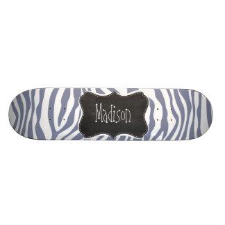 Cool Grey Zebra Stripes; Vintage Chalkboard look Skateboard Decks