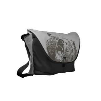 Cool Grizzly Bear Roar Hand Drawn Small Messenger Bag