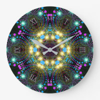 Cool Groovy Blacklight Star Sparkle Wall Clock