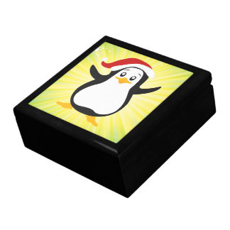 Cool Groovy Cute Penguin Christmas Jewelry Boxes