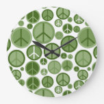 Cool Groovy Sage Green Peace Symbols Large Clock
