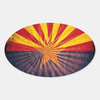 Cool Grunge Arizona Flag Oval Sticker