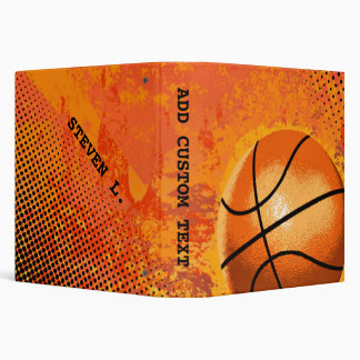 Cool Grunge Basketball Abstract Art Personalized 3 Ring Binder