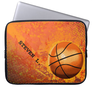 Cool Grunge Basketball Abstract Art Personalized Laptop Sleeve