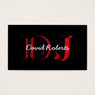 Cool Grunge Black & Red Bold Professional DJ Business Card
