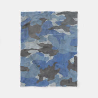 Cool Grunge Blue Camo Custom Fleece Blankets