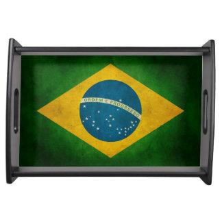 Cool Grunge Brazil Flag Bandeira do Brasil Service Trays
