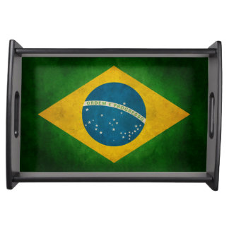 Cool Grunge Brazil Flag Bandeira do Brasil Serving Tray