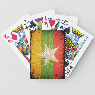 Cool Grunge Burma Flag Bicycle Playing Cards