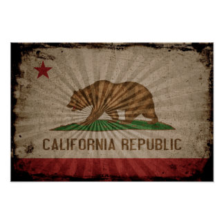 Cool Grunge California Flag Posters