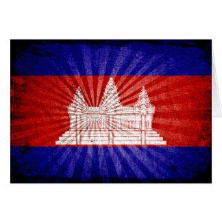 Cool Grunge Cambodia Flag Card