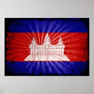 Cool Grunge Cambodia Flag Print