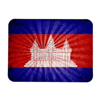 Cool Grunge Cambodia Flag Rectangle Magnets