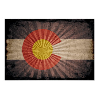 Cool Grunge Colorado Flag Posters