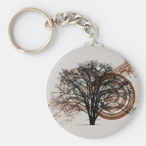 Cool Grunge Eco-Pro-Environment Tree Silhouette Key Chain