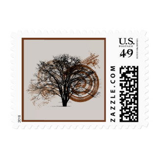 Cool Grunge Eco-Pro-Environment Tree Silhouette Postage