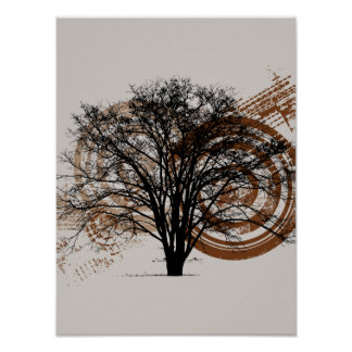 Cool Grunge Eco-Pro-Environment Tree Silhouette Poster