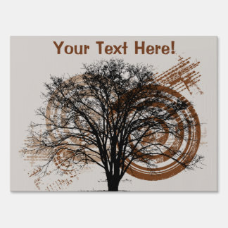 Cool Grunge Eco-Pro-Environment Tree Silhouette Lawn Signs