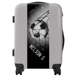 Cool Grunge Football in Goal Personalized Luggage