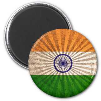 Cool Grunge Indian Flag 2 Inch Round Magnet