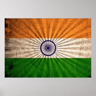 Cool Grunge Indian Flag Poster