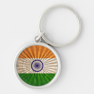 Cool Grunge Indian Flag Silver-Colored Round Keychain