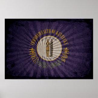 Cool Grunge Kentucky Flag Poster