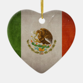Cool Grunge Mexico Mexican Flag Double-Sided Heart Ceramic Christmas Ornament
