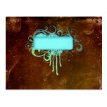 Cool Grunge Monogram Copper Paint Drip Gift Post Card