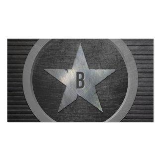 Cool Grunge Monogram Metal Star Business Cards