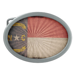 Cool Grunge North Carolina Flag Belt Buckle