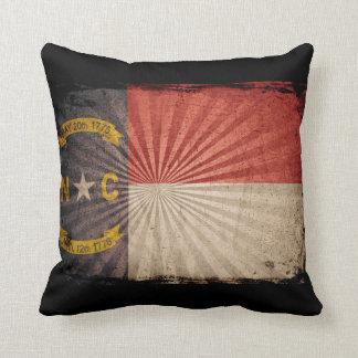 Cool Grunge North Carolina Flag Throw Pillow