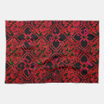 Cool Grunge Red Medieval Print Kitchen Towels