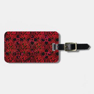 Cool Grunge Red Medieval Print Luggage Tags