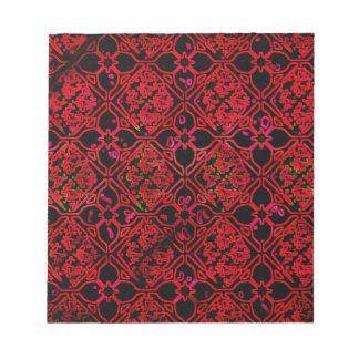 Cool Grunge Red Medieval Print Notepad