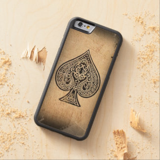 Cool Grunge Retro Artistic Poker Ace Of Spades Carved Maple iPhone 6 Bumper Case
