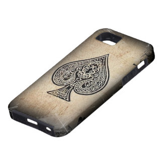 Cool Grunge Retro Artistic Poker Ace Of Spades iPhone 5 Cases