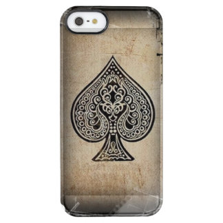 Cool Grunge Retro Artistic Poker Ace Of Spades Uncommon Clearly™ Deflector iPhone 5 Case