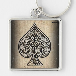 Cool Grunge Retro Artistic Poker Ace Of Spades Keychain