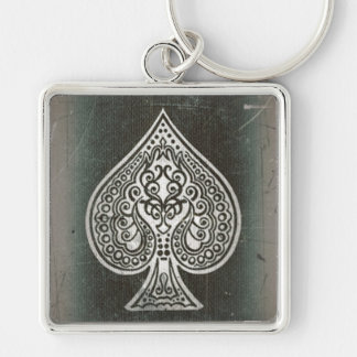 Cool Grunge Retro Artistic Poker Ace Of Spades Silver-Colored Square Keychain