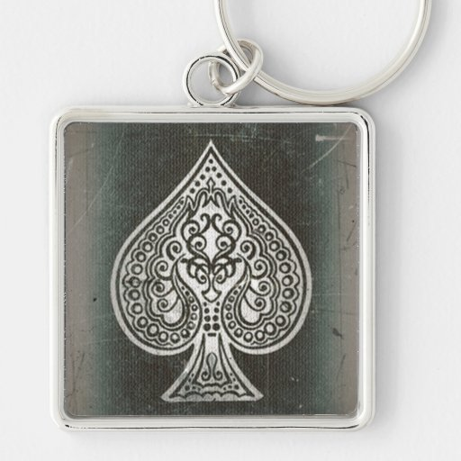 Cool Grunge Retro Artistic Poker Ace Of Spades Keychains