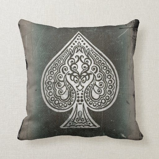 Cool Grunge Retro Artistic Poker Ace Of Spades Pillows