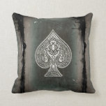 Cool Grunge Retro Artistic Poker Ace Of Spades Throw Pillow