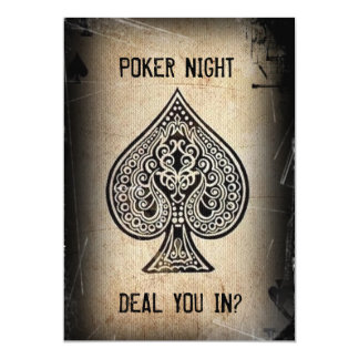 Cool Grunge Retro Poker Ace Of Spades Party Invite
