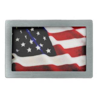 Cool Grunge Rippled USA American Flag Design Belt Buckle