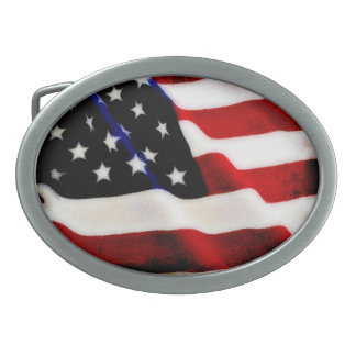 Cool Grunge Rippled USA American Flag Design Oval Belt Buckle