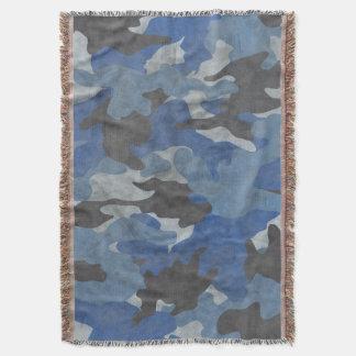 Cool Grunge Sea Blue Camo Woven Throw Blankets