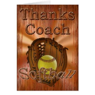 Cool Grunge Softball Coach Thank You Cardchee Greeting Card